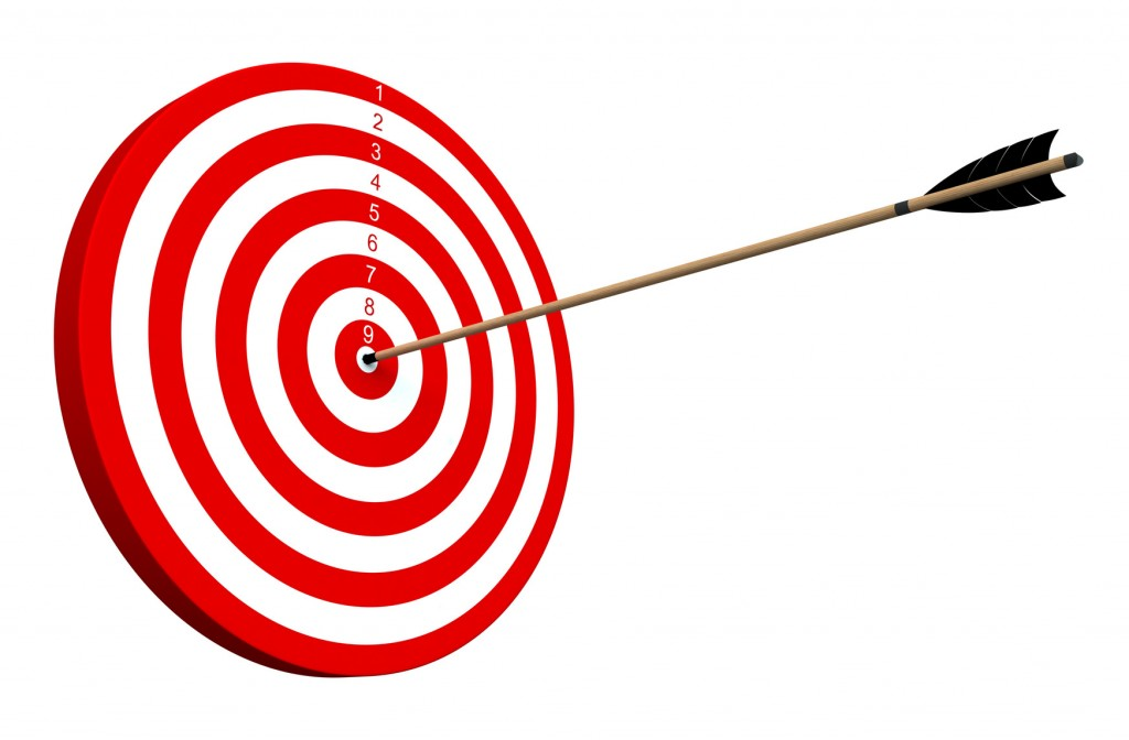 An arrow hitting the center of target